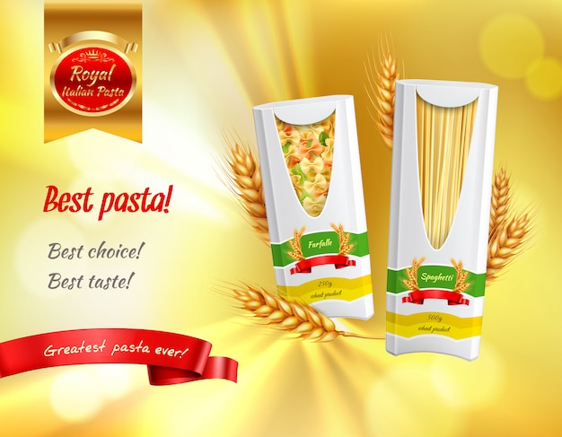 Colored pasta advertisement realistic banner with best pasta best choice best taste headlines  illustration
