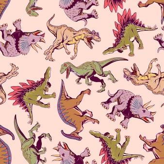 직물, 티셔츠, 포장지에 인쇄하기 위한 만화 공룡이 있는 컬러 패턴. 벡터 일러스트 레이 션.
