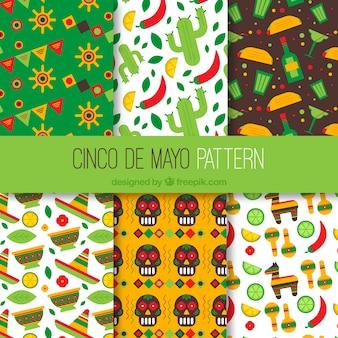 Цветные узоры, готовые для cinco de mayo
