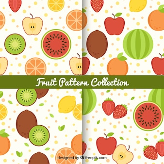 Colored patterns with variety of fruits