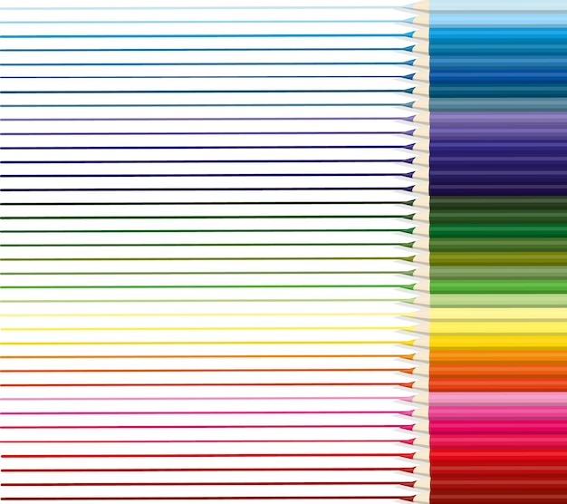 Colored pencils are arranged evenly in a row with lines of each color drawn