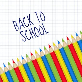 テキストの色鉛筆フレーム。学校に戻る。