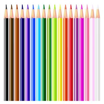 色鉛筆-白い背景の上