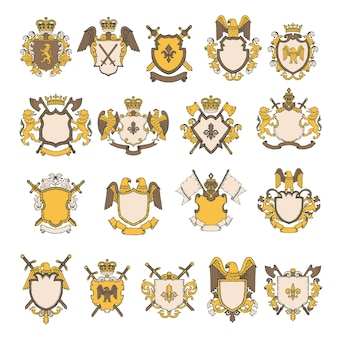 Colored pictures set of heraldic elements.  shield with eagle and lion, royal heraldic majestic illustration