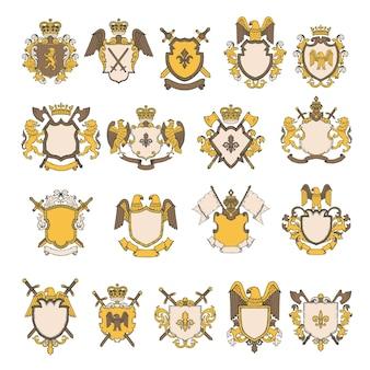 紋章の要素のカラー写真セット。ワシとライオンの盾、王室の紋章の雄大なイラスト