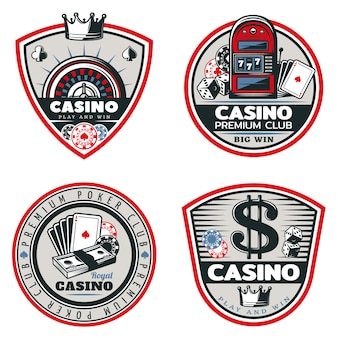 Set di emblemi colorati di poker e casinò