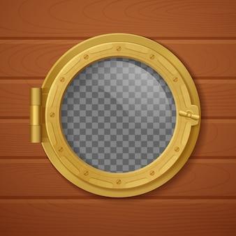 Цветной иллюминатор реалистичной композиции золотой с прозрачным фоном и с деревянной стеной