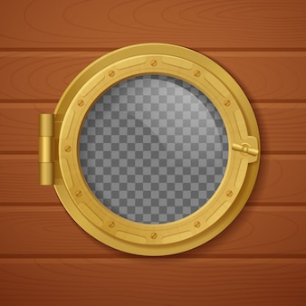 Colored porthole realistic composition golden with transparent background and with wooden wall