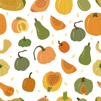 Colored pumpkin seamless pattern, autumn vegetable whole and slice. green,yellow and orange pumpkins. vector hand drawn cartoon illustration on white background.