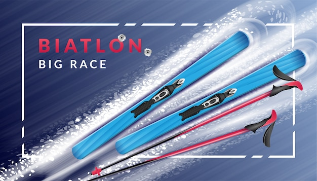 Colored realistic biathlon horizontal poster with description and skis lie in snow