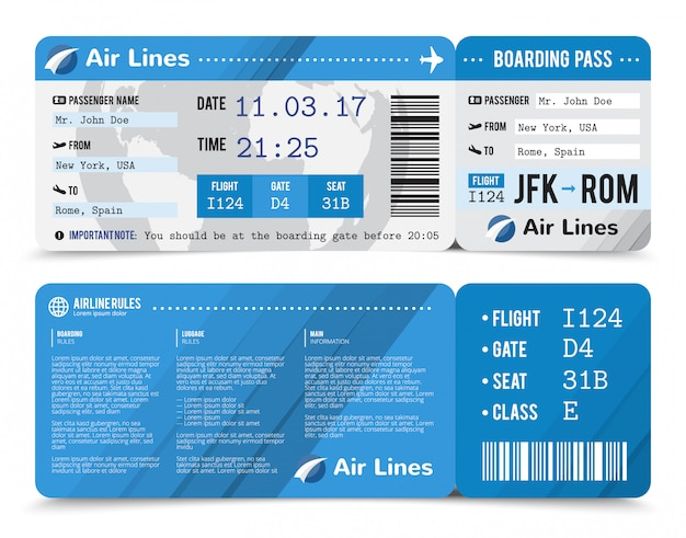 앞면과 뒷면의 승객에 대한 정보가 포함 된 현실적인 색상의 탑승권 구성
