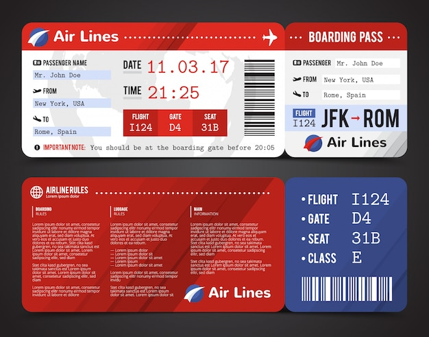 Colored and realistic boarding pass design composition with name of airline time and name on ticket