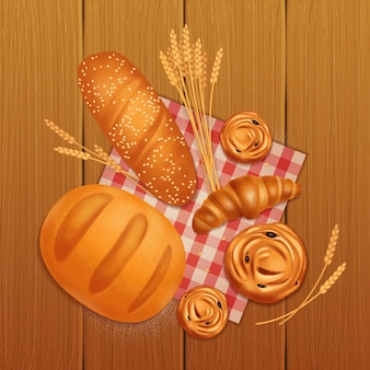 Colored realistic bread bakery composition with croissant bread and buns on wooden table