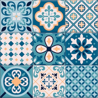Colored and realistic ceramic floor tiles ornaments icon set for creation of different pattern