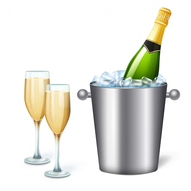 Colored realistic champagne bucket composition with cold champagne and two full glasses  illustration