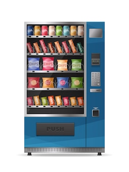 Colored realistic design of snacks vending machine with electronic control panel isolated