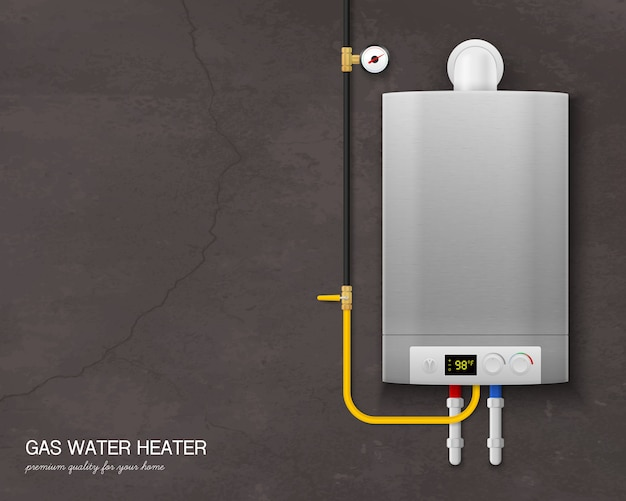 Colored and realistic gas water heater boiler composition with tools on the wall on gray