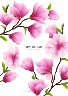 Colored realistic magnolia flower frame with save the date headline and delicate pink flowers