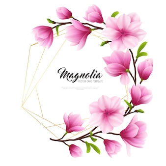 Colored realistic magnolia flower illustration with gold and pink composition stylish and beauty