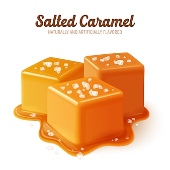 Colored and realistic salted caramel composition with naturally and artificially flavored headline
