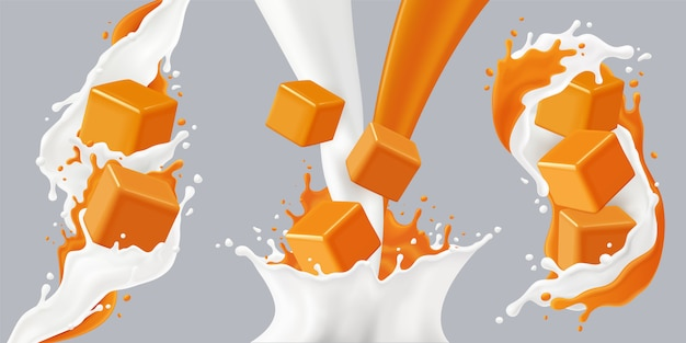 Colored realistic splashes caramel icon set with caramel cubes and milk splashes  illustration