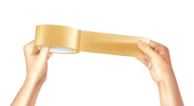 Nastro adesivo colorato e realistico appiccicoso dorato e lucido nella composizione delle mani