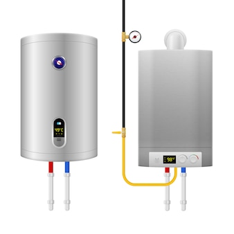 Colored realistic water heater boiler composition with two isolated and different equipment and pipes