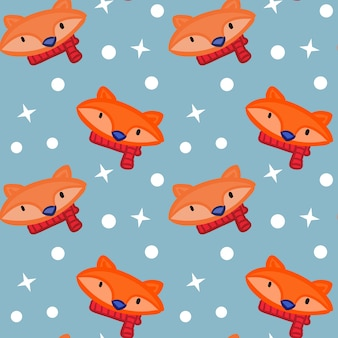 Colored red scarf fox snow star pattern