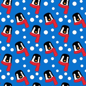 Colored red scarf penguin snow pattern