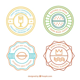 Colored retro badges for food