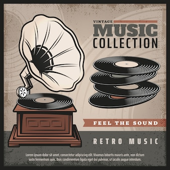 Colored retro gramophone poster with turntable or phonograph and vinyl records in vintage style