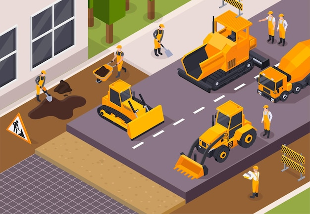 Colored and road construction isometric illustration