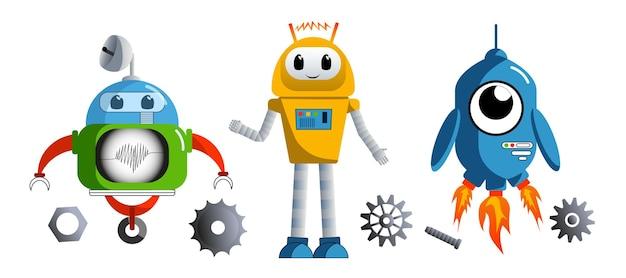 子供のための青い背景のロボットベクトルロボティクスプリント上の色付きロボット