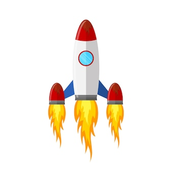 Colored rocket ship icon in flat design