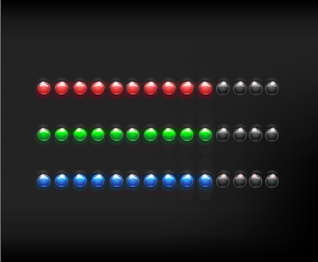 Colored round loading icons in color illuminated spherical glass loading on black background