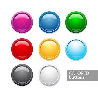色付きの丸い押しボタン。白い背景の上の光沢のあるサークルアイコン。