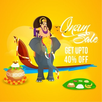 Colored sale background ready for onam festival