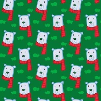 Colored scarf polar bear fish pattern