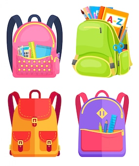Colored school backpack back to school