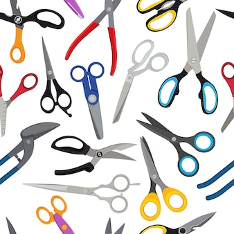Colored scissors  pattern. scissors background for barber hair or hairdresser illustration