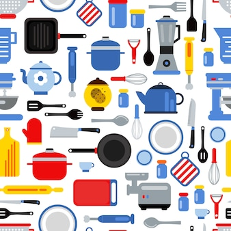 Colored seamless pattern or background illustration with flat style kitchen utensils