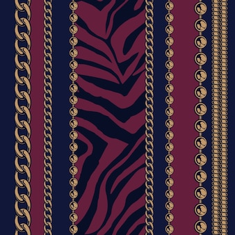 Colored seamless pattern of chains and animal prints with a dark background for factory . all items are in groups. easy to change color.