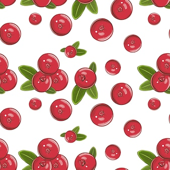 Colored seamless pattern with cranberries in vintage style