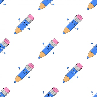 Colored seamless pattern with cute cartoon character.