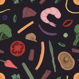 Colored seamless pattern with food pieces