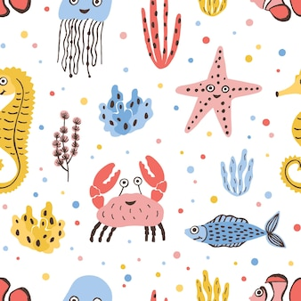 Colored seamless pattern with happy sea and ocean animals on white