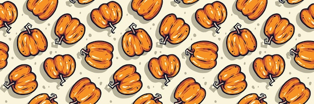 Colored seamless pattern with pumpkin with face emotion for halloween october party