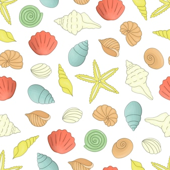 Colored seamless pattern with sea shells