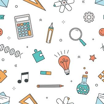 文房具と学校、大学、大学の教育と白い背景の科学的研究のためのアイテムと色のシームレスなパターン。包装紙のラインアートスタイルのイラスト。