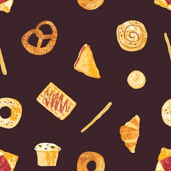 Colored seamless pattern with tasty fresh baked products and homemade sweet pastry or desserts made of dough